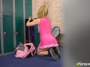 Sexy cheerleader Brook Lil showing her ass upskirt