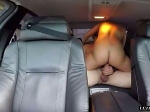 Horny blond haired tramp Kate England gives a head to kinky guy on the back...