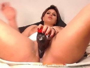 Horny webcam whore fucks her creamy cunt with her brand new sex toy