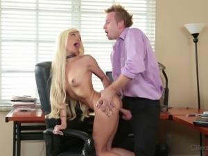 Petite blonde Elizabeth Jolie opens her legs for her boss' dick