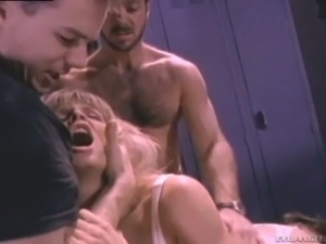 Light haired torrid bitch with big boobs Tyffany Million gets double team fucked