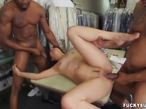 an asian cutie gets stuck in between two huge black dongs