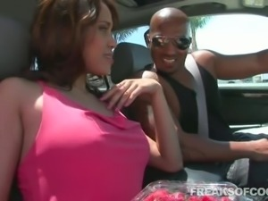 Latina dame drives home then compactly screwed with big black cock