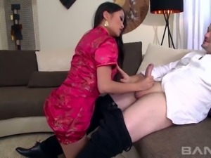 Incredibly stunning Asian bitch in sexy nightie gets wild with American stud...