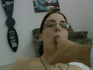 Raven haired bitch in glasses Demetris gets her vagina fingerfucked rough