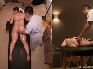 Asian babe gets an erotic massage and some hot pussy-fingering