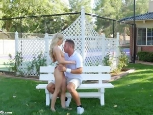 Stupefying blonde rides a big dick during an outdoor shag