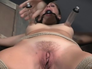 Submissive babe with bangs tortured big time and loves it
