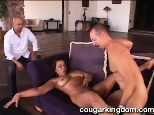 Big breasted wife enjoys every deep thrust of hard meat in her snatch