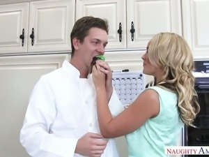 Alexis Monroe screwed in the kitchen by handsome sexy cook