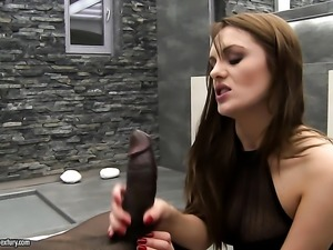 Brunette stunner wants this interracial fuck session to last forever