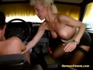 Hot blonde german Milf picked up for wild carsex with a massive facial
