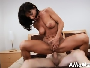 Mama is fucking hard to get creampie and to achieve large o