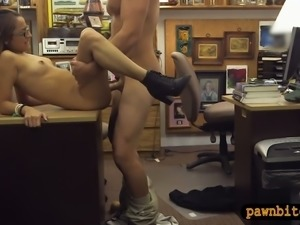 Amateur college girl with glasses railed at the pawnshop
