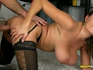 Boobalicious Sensual Jane hammered deep in her throbbing wet pussy