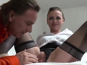 Naughty maid Alessia Donati slammed by her boss