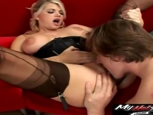 Huge dick plows a hot blonde as her lover watches her
