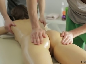 Taya is a perky slut who gets fucked by two handsome dudes