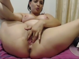 Quite flexible and dirty brunette cam whore used some toys for her both holes
