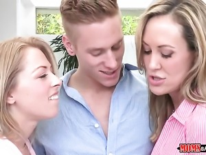 Cody Sky makes Brunette Brandi Love with massive tits and trimmed cunt gag on...
