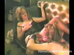 Vintage lesbians feel good tasting each other's pussies