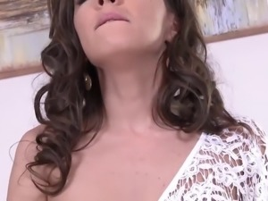 Perfect bodied brunette fingering pussy
