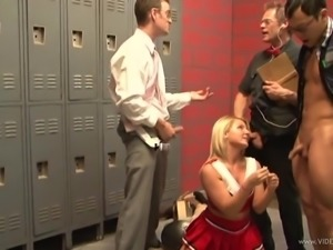 Foxy cheerleader with small tits gets gang banged in locker room