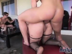 Busty Beverly pleasures multiple fat dicks