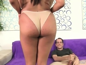 Ebony chick with massive hooters has a white cock delivering pleasure