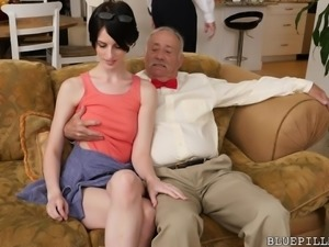 old dudes have a threesome with a skinny babe