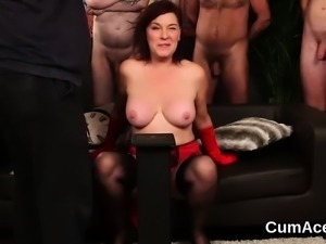 Peculiar beauty gets cum shot on her face sucking all the cu