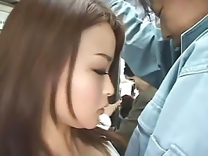 Voyeur Japanese Slut Sucks Cock and Gets Fucked In Public On a Crowded Bus