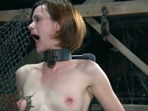 Redhead slave girl tortured with enormous quantity of weird devices and gadgets