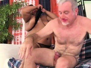 Curvy chocolate nympho recruits a white stud to fuck her juicy peach