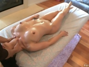 Gorgeous brunette cutie gets massaged and fucked really hard