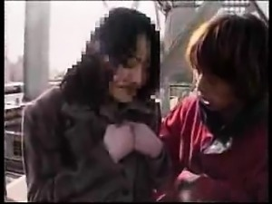 Lustful Japanese wife gets picked up and nailed rough by tw