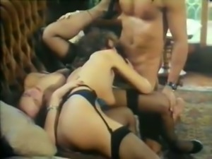Nasty white classic bitches on the couch having threesome