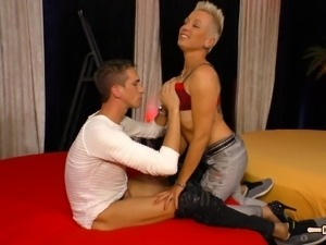 Woman with short hair loves riding her hot fellow's fat cock