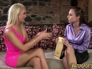 Glam lesbo piss soaked