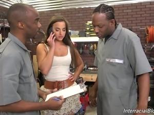 Pretty gal Amirah Adara blowing a bunch of black mechanics' dicks