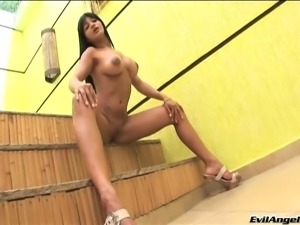 Latina Melissa Pitanga with fake tits gets her shaved pussy rammed hardcore