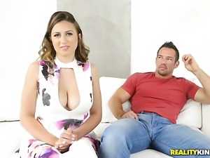 Brunette with giant hooters and smooth cunt turns Johnny