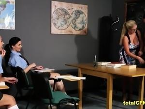 Hot Blonde Teacher Strip A Student