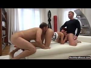Skinny redhead lady Shona River enjoying nasty threesome sex