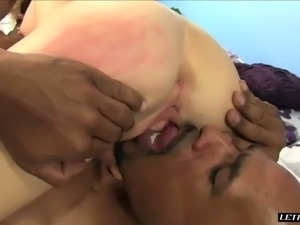 Lovely European slut with small tits Alison Faye blows BBC and then bounces...