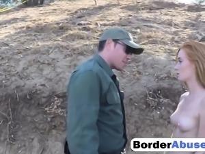 Adorable redhead teen slut pleasuring border agent