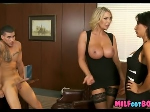 Sexy Cougars Double Team His Dick