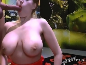 Cumshots on big boobs with bukkakes