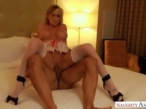 Hot like hell blond mommy in stockings Nadia Hilton likes hot reverse cowgirl...
