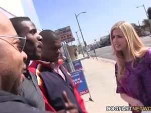 Cute Blonde Abigaile Johnson Fucks with a group of black men...